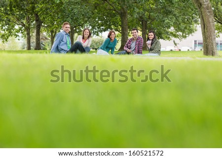 Group portrait of young college students sitting on grass in the park - stock photo