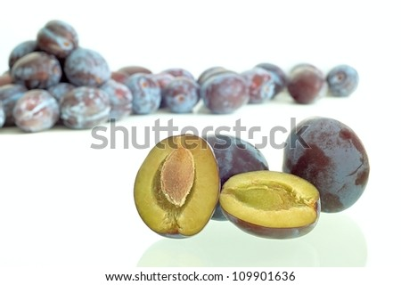 group prunes fruit with background