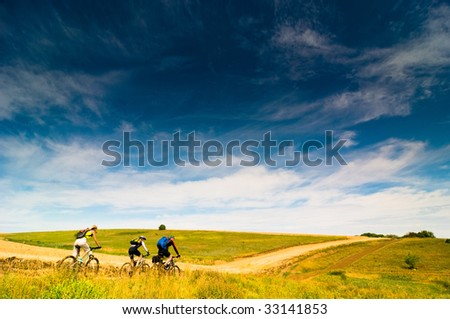 group relax biking outdoors - stock photo