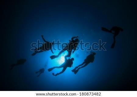 Group Scuba Diving - stock photo