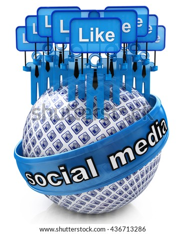 Group social media networks in the design of information related to internet. 3d illustration - stock photo