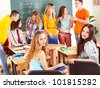 Group student near blackboard in classroom. - stock photo