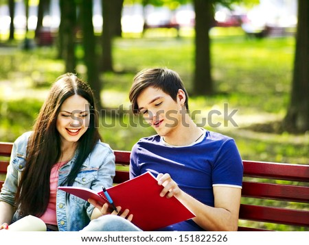 Group student with notebook outdoor. - stock photo