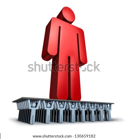 Group Support business concept with a giant red leader person being lifted and moved forward in solidarity by a loyal team of cooperating individuals for a strong organization. - stock photo