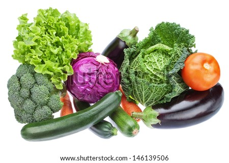 Group variety of vegetables to supply useful for health. Cabbage, eggplant and others.