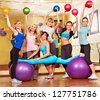 Group women in aerobics class. - stock