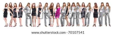 group young women in black dress over white