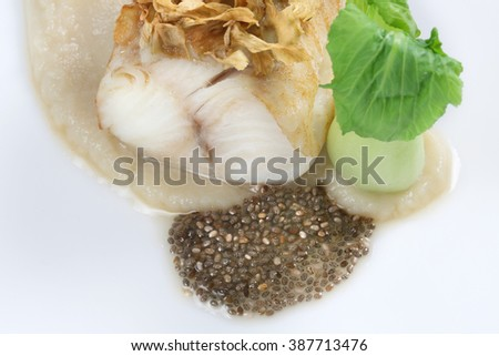 grouper fillets cabbage and lentils - stock photo