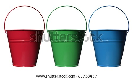 Grouping of three red, green and blue colored metal pails on a white background - stock photo