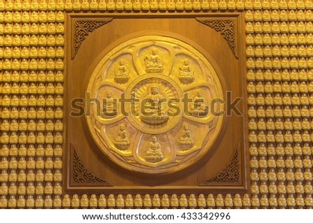 Groups of Buddha statue, stucco on chinese temple wall in Dragon Temple Kammalawat (Wat Lengnoeiyi) in Nonthaburi, Thailand - stock photo