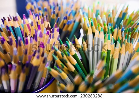 Groups of Colored Pencils - stock photo