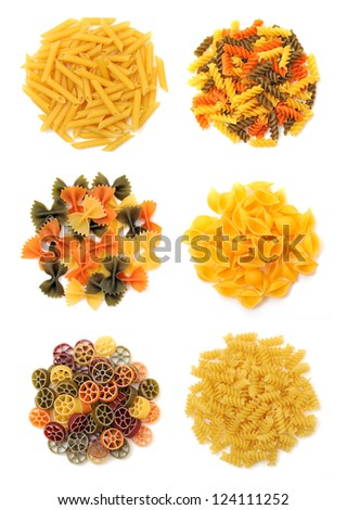 groups of  pasta on white background - stock photo