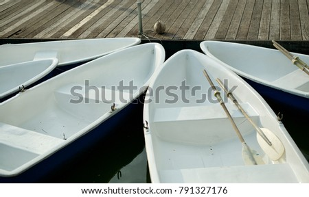 Groups of plastic boat at the port