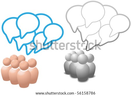 Groups of symbol people talk social media networking in overlapping speech bubble copy space. - stock photo