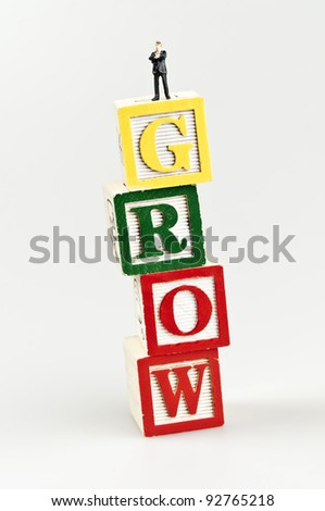Grow word and toy business man