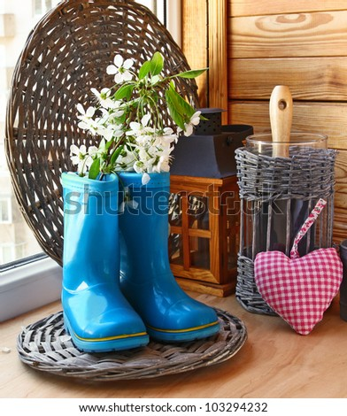 Growing and flowering of balcony. Infatuation for gardening on a balcony - stock photo