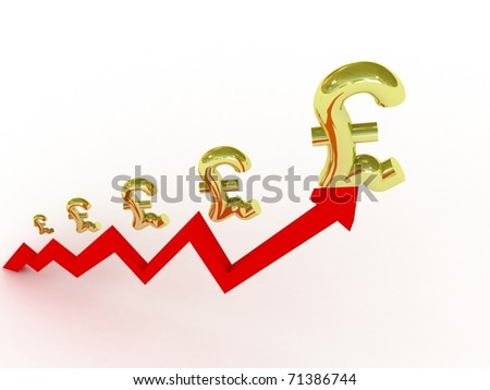 Growing business graph with pound symbols - stock photo