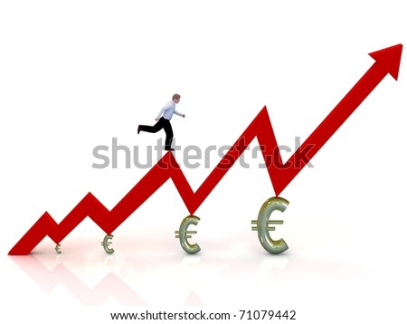 Growing business graph with running businessman.