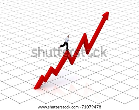 Growing business graph with running businessman. - stock photo