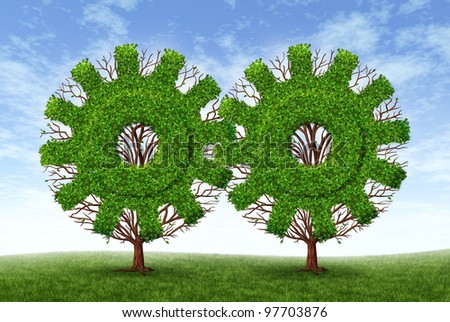 Growing business partnership and strategic alliance and financial teamwork with two trees in the shape of gears and cogs as strong conservative growth for success and future wealth on a blue sky. - stock photo