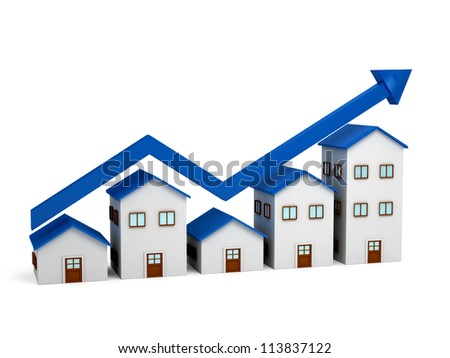 Growing chart over houses. 3d renedered image - stock photo