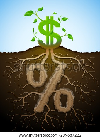 Growing dollar sign as plant with leaves and percent sign as root. Financial concept with money symbol and percentage. Qualitative illustration for banking, financial industry, economy, accounting - stock photo