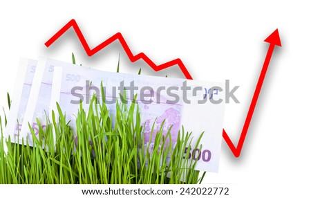 Growing Euro money cash in green grass, Arrow rising up - stock photo