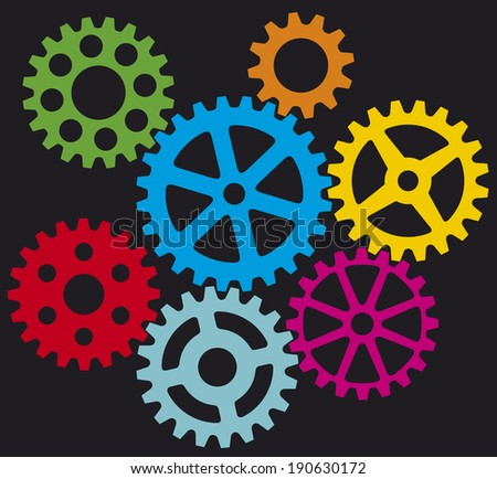 growing gears (cogs in process) - stock photo