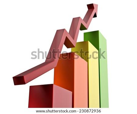 Growing graph 3D illustration - stock photo