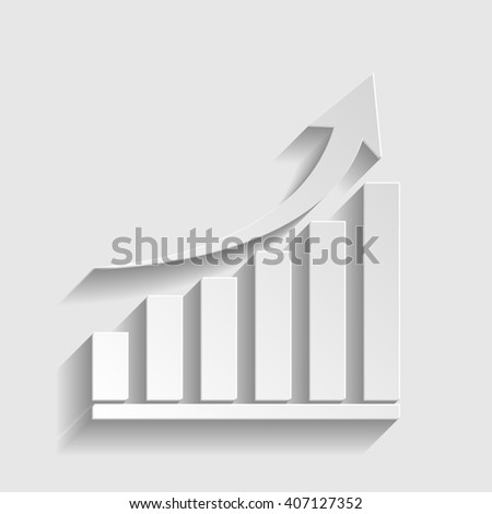 Growing graph sign. Paper style icon