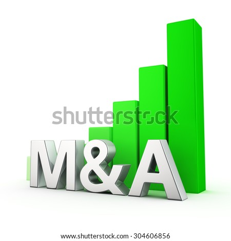 Growing green bar graph of M&A on white. Improved economic performance concept. - stock photo