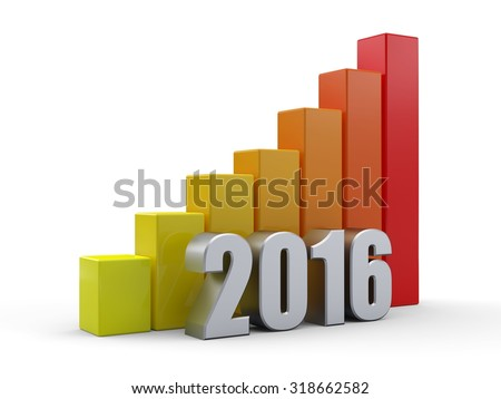 Growing green bar graph of 2016 on white. Economic growth concept.