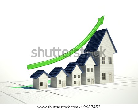 Growing home sales 3D illustration - stock photo