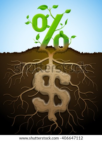 Growing percent sign as plant with leaves and dollar sign as root. Financial concept with money symbol and percentage. Illustration for banking, financial industry, economy, accounting, etc - stock photo