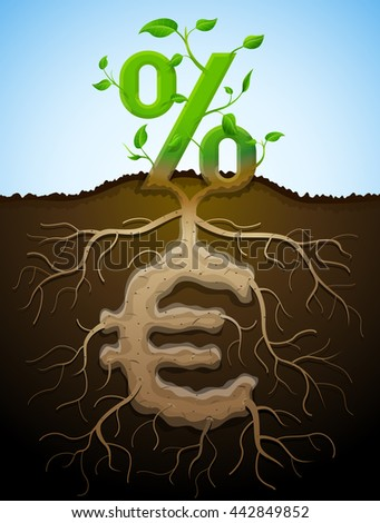 Growing percent sign as plant with leaves and euro sign as root. Financial concept with money symbol and percentage. Qualitative illustration for banking, financial industry, economy, accounting, etc - stock photo