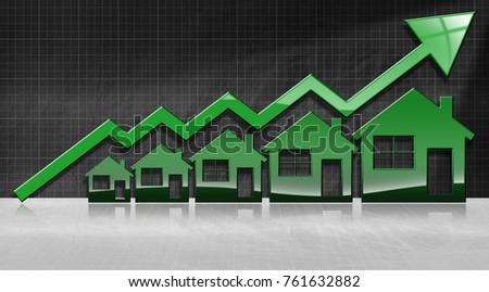 Growing Real Estate Sales 3 D Illustration Stock Illustration