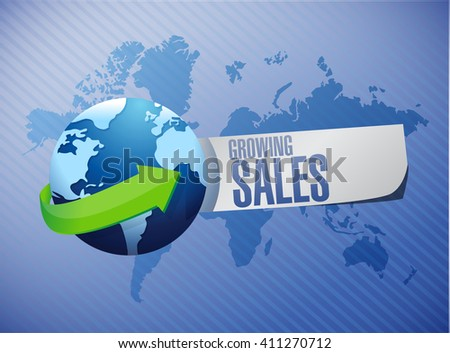 growing sales global sign concept illustration design graphic