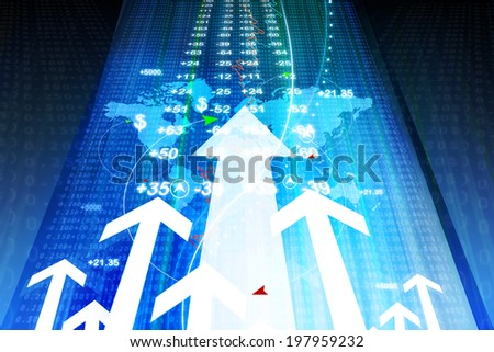 Growing Stock market chart - stock photo