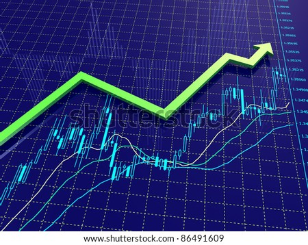 Growing up green arrow on the Forex chart in blue space