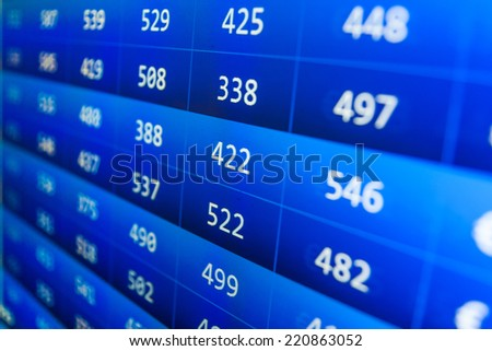 Growing up numbers symbolizing growth. Screen live display. Online live finance business. Stock exchange market business. Stock market. Abstract technology background. Business stock exchange.  - stock photo