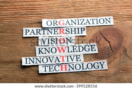 growth acronym in business concept, words on cut paper on wooden backgrownd