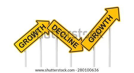 Growth and decline road signs, 3d render - stock photo