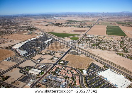 Growth and Development in the east valley outside Phoenix, Arizona - stock photo