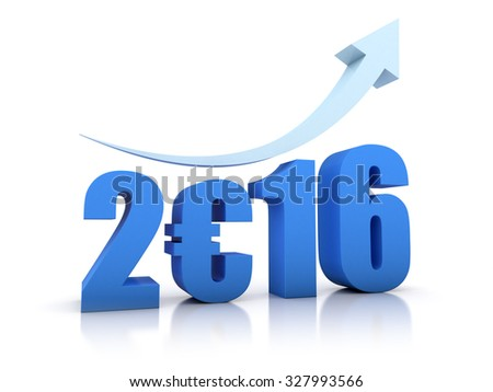 Growth 2016 and Euro With Arrow - stock photo