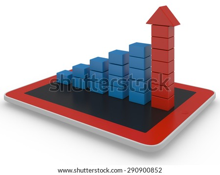 Growth Chart 3d render on white background - stock photo