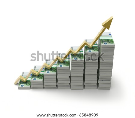 Growth concept with euros - stock photo