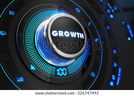 Growth Controller on Black Control Console with Blue Backlight. Improvement, regulation, control or management concept. - stock photo