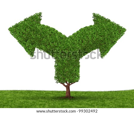 Growth decisions and choice dilemma with a tree in the shape of two arrows going in opposite directions as a concept of uncertainty due to businesses that grow to success experiencing growing pains. - stock photo