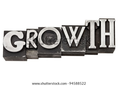 growth - development concept  - isolated word in mixed vintage metal printing blocks - stock photo