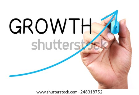Growth Graph drawn on transparent whiteboard. - stock photo